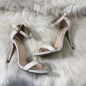 LuLu's Off White Ankle Strap Heels